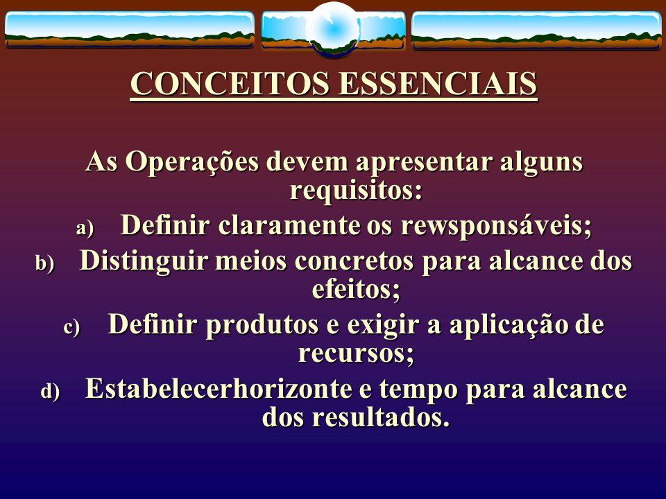 CONCEITOS ESSENCIAIS As Operações devem apresentar alguns requisitos: a) Definir claramente os rewsponsáveis; b) Distinguir meios concretos para alcan