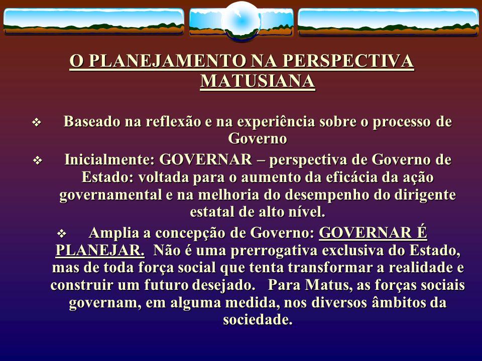 O PLANEJAMENTO NA PERSPECTIVA MATUSIANA Baseado na reflexão e na experiência sobre o processo de Governo Baseado na reflexão e na experiência sobre o