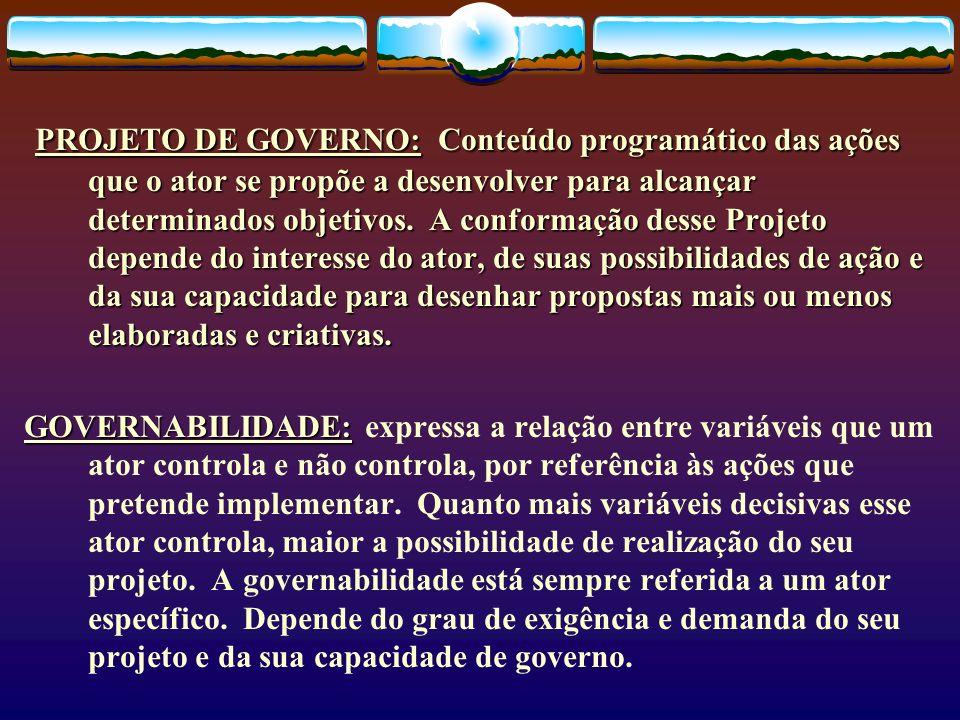 PROJETO DE GOVERNO: Conteúdo programático das ações que o ator se propõe a desenvolver para alcançar determinados objetivos. A conformação desse Proje