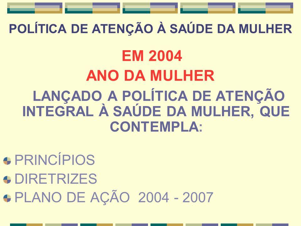 POLÍTICA DE ATENÇÃO À SAÚDE DA MULHER EM 2006 INSTITUÍDO O PACTO PELA SAÚDE DEFINIU 06 PRIORIDADES 1-SAÚDE DO IDOSO 2-CONTROLE DO CÂNCER DO COLO DO ÚTERO E MAMA 3-REDUÇÃO DA MORTALIDADE MATERNA E INFANTIL 4-FORTALECIMENTO DA CAPACIDADE DE RESPOSTA ÀS DOENÇAS EMERGENTES E ENDEMIAS (dengue, hanseníase, tuberculose, malária e influenza) 5-PROMOÇÃO DA SAÚDE 6-FORTALECIMENTO DA ATENÇÃO BÁSICA/PRIMÁRIA