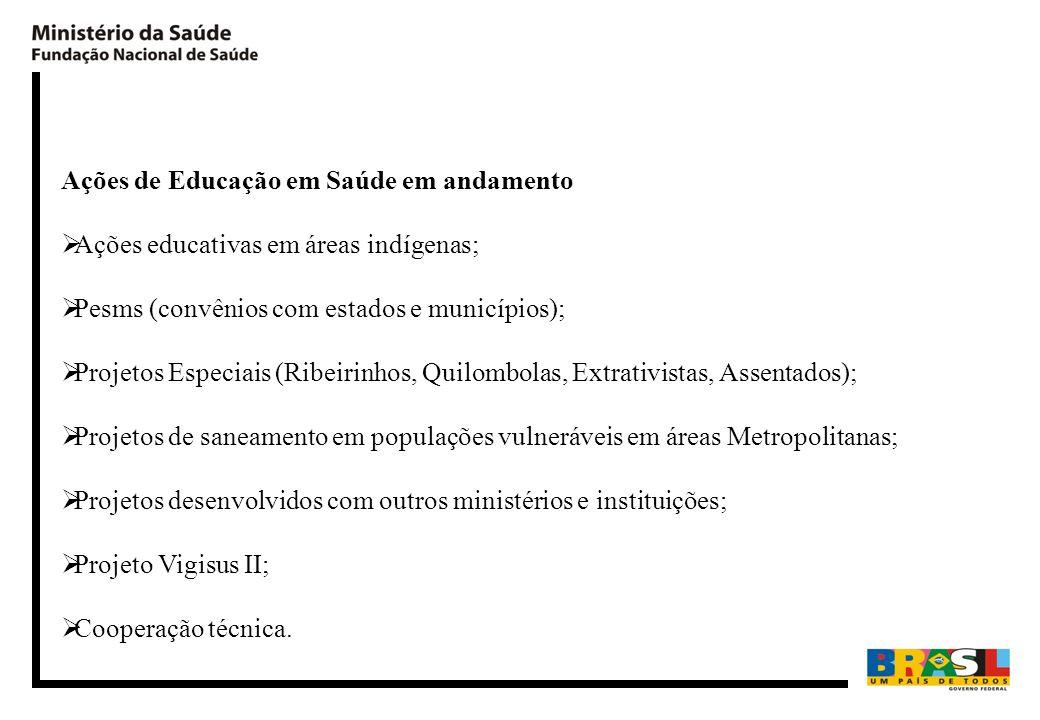 Ações de Educação em Saúde em andamento Ações educativas em áreas indígenas; Pesms (convênios com estados e municípios); Projetos Especiais (Ribeirinh