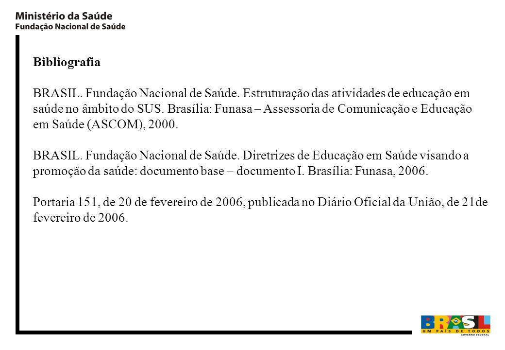 Bibliografia BRASIL. Fundação Nacional de Saúde. Estruturação das atividades de educação em saúde no âmbito do SUS. Brasília: Funasa – Assessoria de C