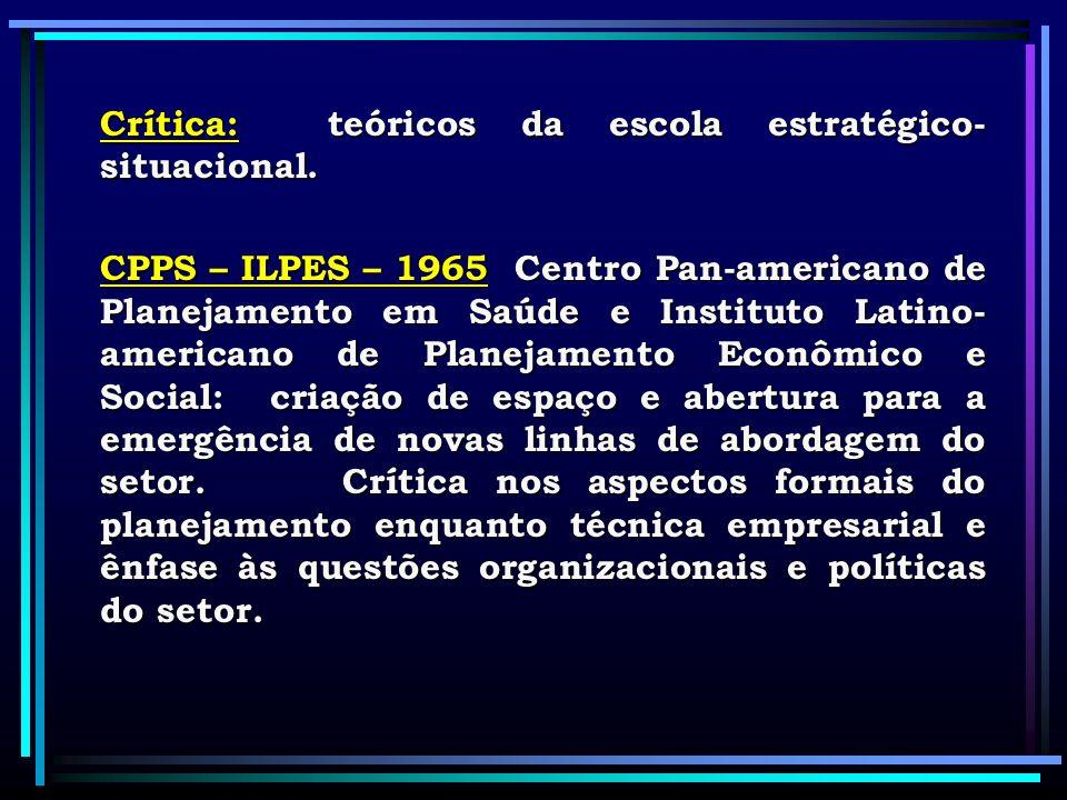 Crítica: teóricos da escola estratégico- situacional. CPPS – ILPES – 1965 Centro Pan-americano de Planejamento em Saúde e Instituto Latino- americano