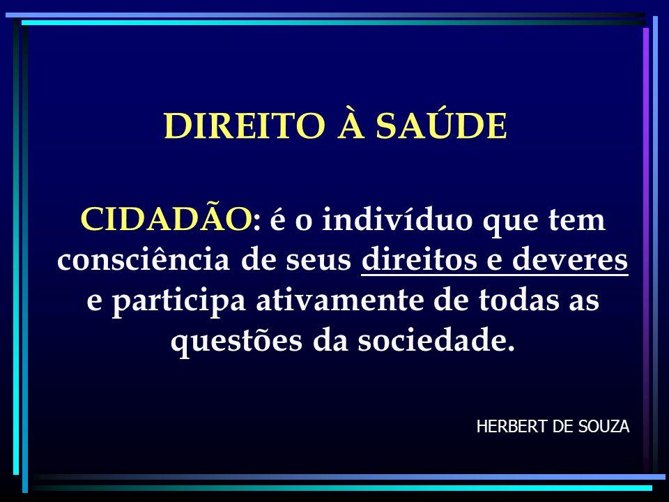 DIREITO À SAÚDE CIDADÃO: é o indivíduo que tem consciência de seus direitos e deveres e participa ativamente de todas as questões da sociedade. HERBER