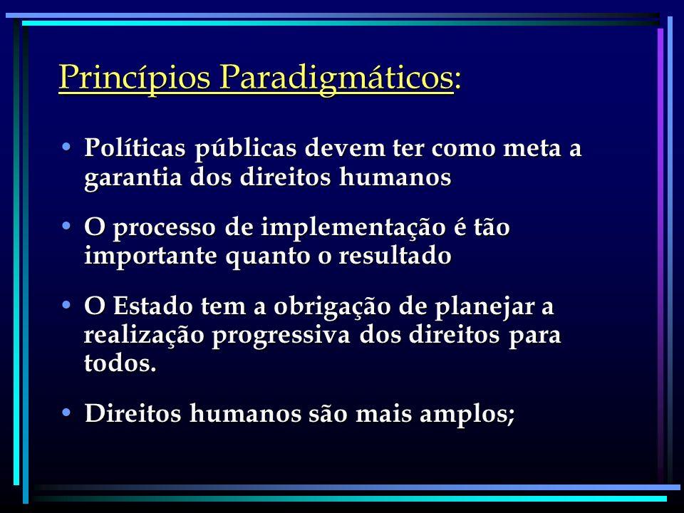 Princípios Paradigmáticos: Políticas públicas devem ter como meta a garantia dos direitos humanos Políticas públicas devem ter como meta a garantia do