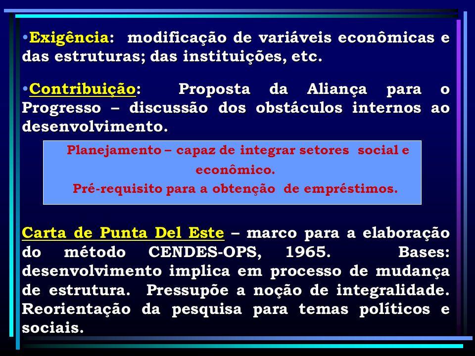 Exigência: modificação de variáveis econômicas e das estruturas; das instituições, etc. Exigência: modificação de variáveis econômicas e das estrutura