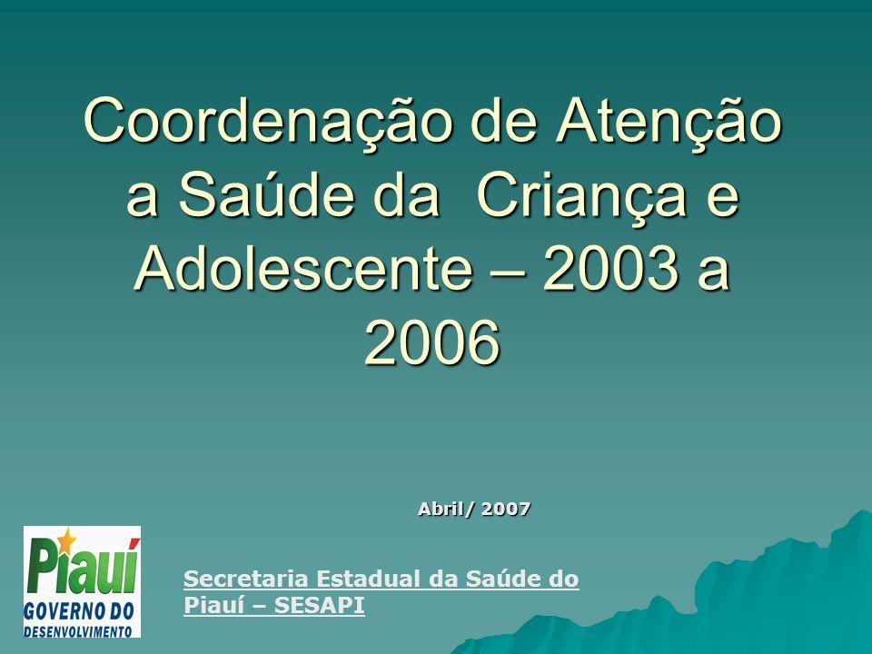 Coordenação de Atenção a Saúde da Criança e Adolescente – 2003 a 2006 Abril/ 2007 Secretaria Estadual da Saúde do Piauí – SESAPI