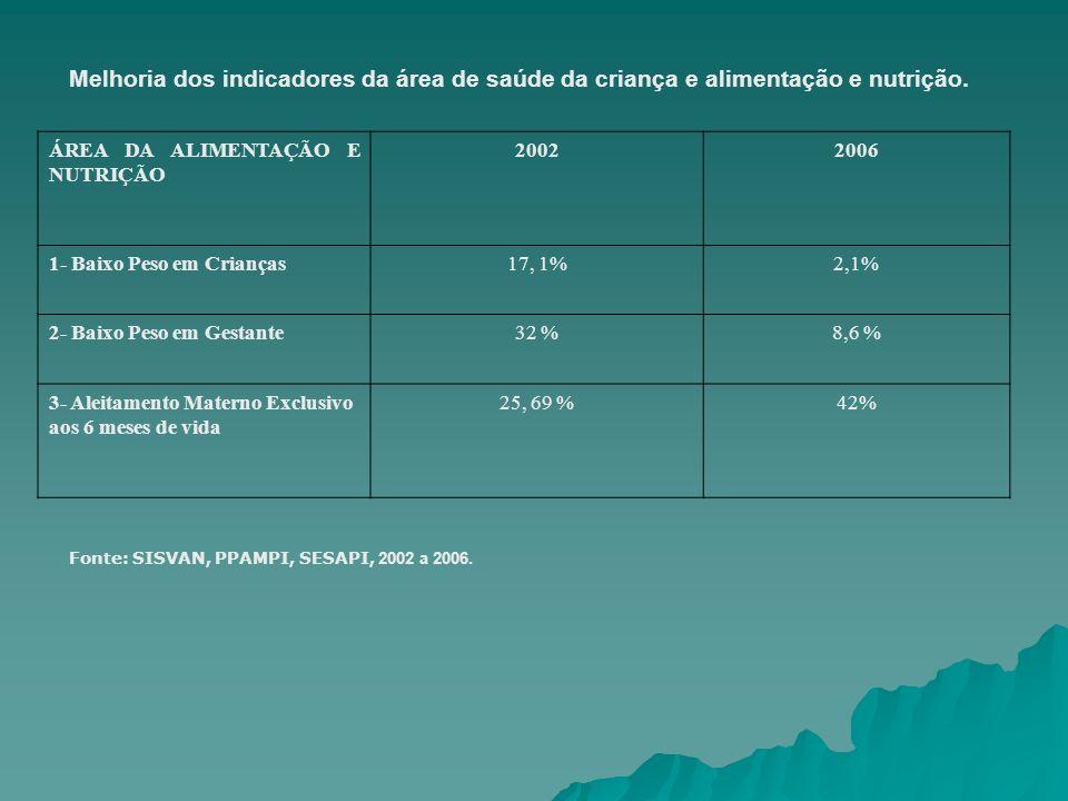 Melhoria dos indicadores da área de saúde da criança e alimentação e nutrição. ÁREA DA ALIMENTAÇÃO E NUTRIÇÃO 20022006 1- Baixo Peso em Crianças17, 1%