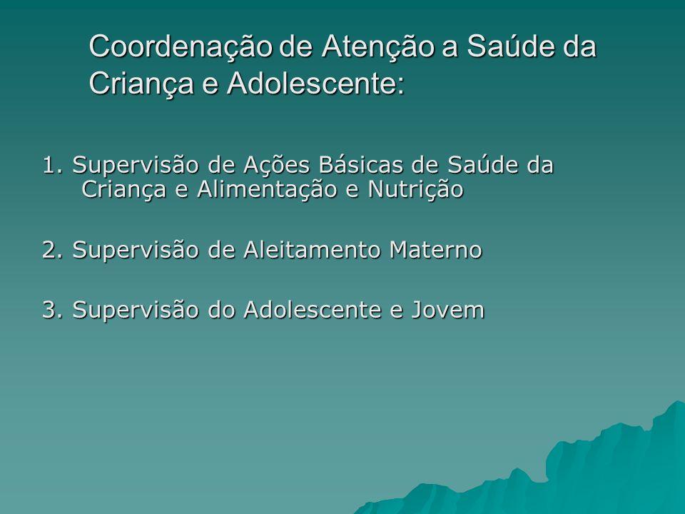 Coordenação de Atenção a Saúde da Criança e Adolescente: 1. Supervisão de Ações Básicas de Saúde da Criança e Alimentação e Nutrição 2. Supervisão de