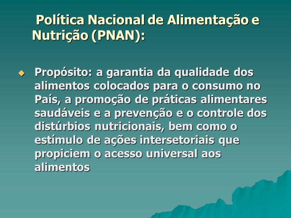 Política Nacional de Alimentação e Nutrição (PNAN): Política Nacional de Alimentação e Nutrição (PNAN): Propósito: a garantia da qualidade dos aliment