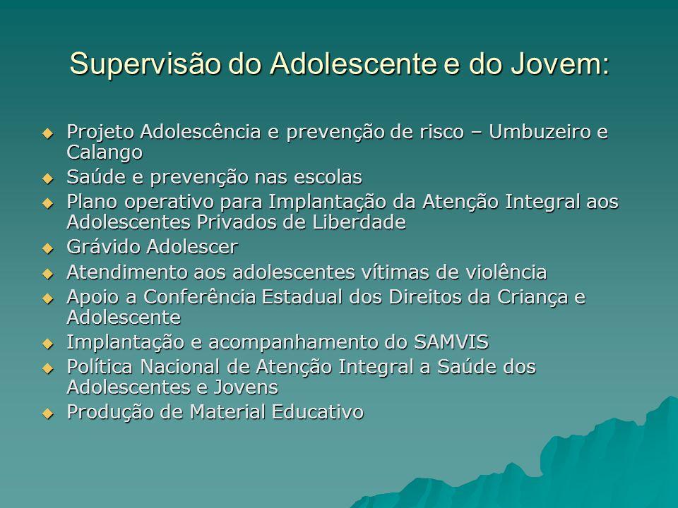 Supervisão do Adolescente e do Jovem: Projeto Adolescência e prevenção de risco – Umbuzeiro e Calango Projeto Adolescência e prevenção de risco – Umbu