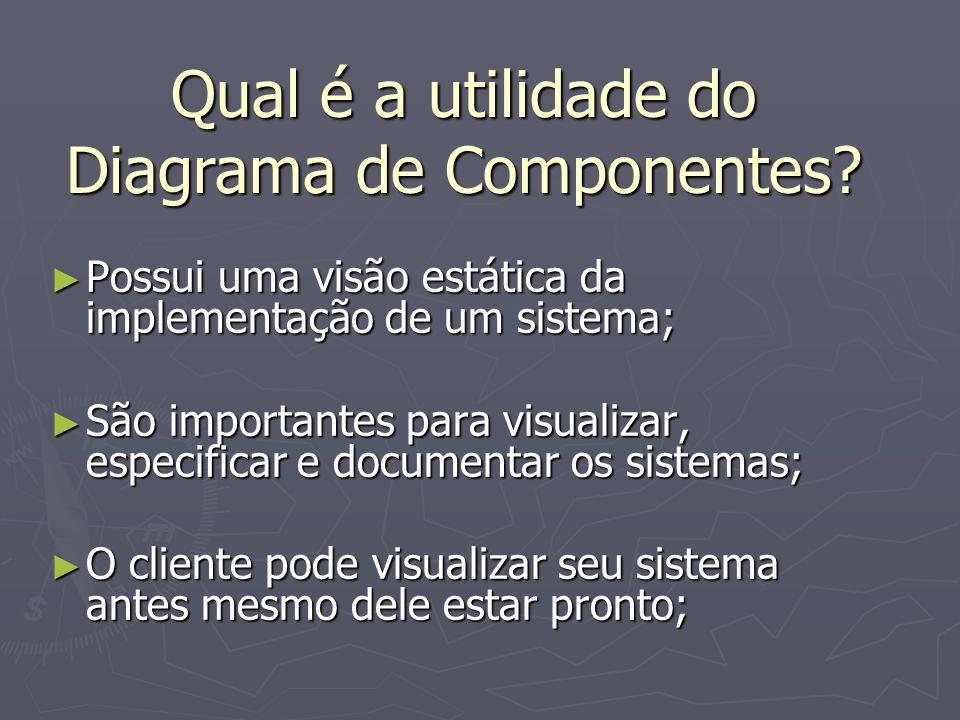 Possui uma visão estática da implementação de um sistema; Possui uma visão estática da implementação de um sistema; São importantes para visualizar, e
