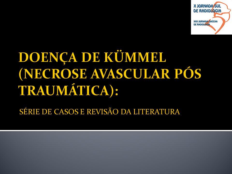 O presente estudo relata os principais padrões da doença de Kümmel encontrados em um serviço especializado em diagnóstico por imagem de Porto Alegre e correlaciona com as características referidas na literatura, abordando aspectos como idade, sintomatologia e, especialmente, a história pregressa de trauma ;
