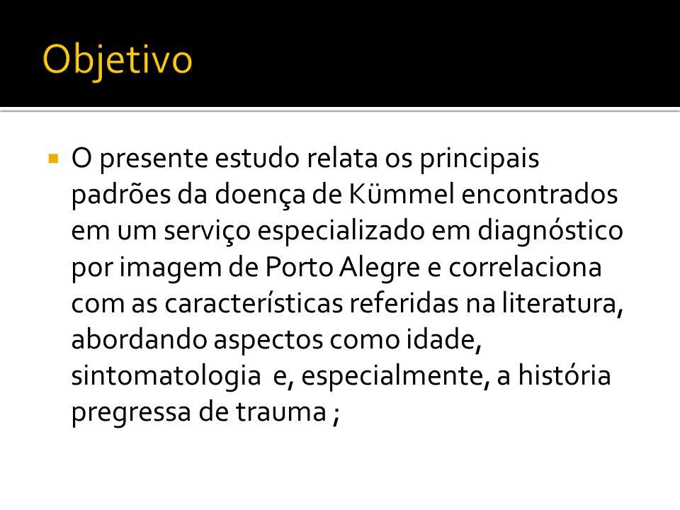 Foram revisados cinco casos de pacientes apresentando dor toracolombar, que tiveram diagnóstico de Doença de Kümmel através de Raio-X, Tomografia Computadorizada e/0u Ressonância Magnética, em um serviço especializado em diagnóstico por imagem em Porto Alegre; A seguir, estes achados foram correlacionados com os dados descritos na literatura;
