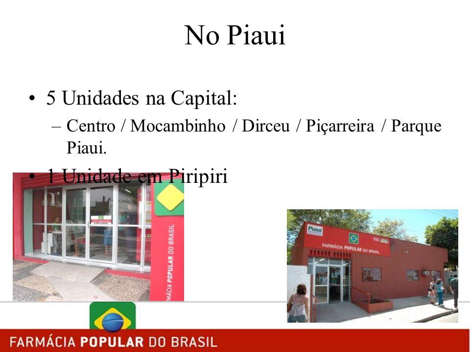No Piaui 5 Unidades na Capital: –Centro / Mocambinho / Dirceu / Piçarreira / Parque Piaui. 1 Unidade em Piripiri