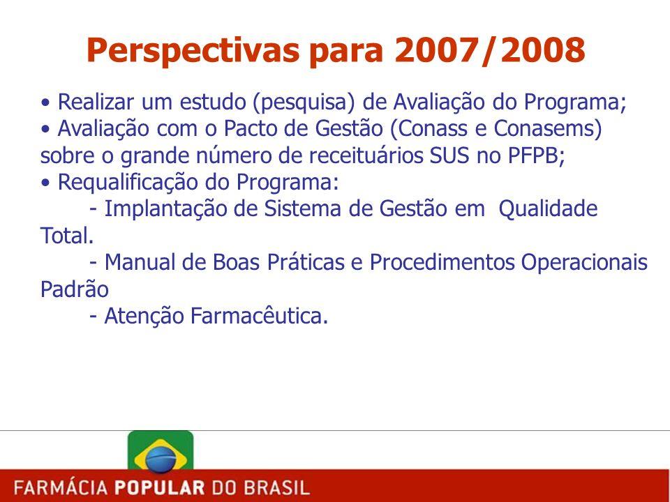 Perspectivas para 2007/2008 Realizar um estudo (pesquisa) de Avaliação do Programa; Avaliação com o Pacto de Gestão (Conass e Conasems) sobre o grande