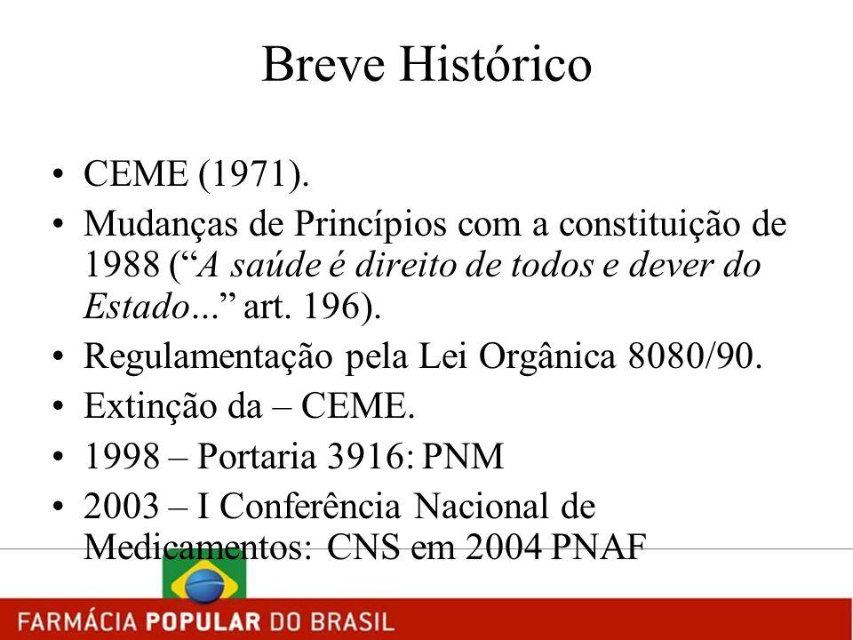 Breve Histórico CEME (1971). Mudanças de Princípios com a constituição de 1988 (A saúde é direito de todos e dever do Estado... art. 196). Regulamenta