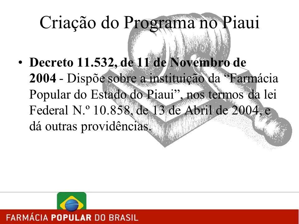 Criação do Programa no Piaui Decreto 11.532, de 11 de Novembro de 2004 - Dispõe sobre a instituição da Farmácia Popular do Estado do Piaui, nos termos