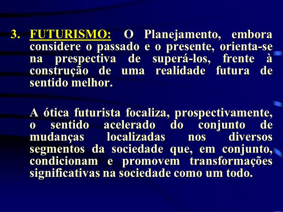 3.FUTURISMO:O Planejamento, embora considere o passado e o presente, orienta-se na prespectiva de superá-los, frente à construção de uma realidade fut