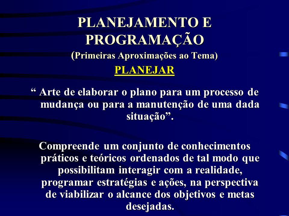 PLANEJAMENTO E PROGRAMAÇÃO ( Primeiras Aproximações ao Tema) PLANEJAR Arte de elaborar o plano para um processo de mudança ou para a manutenção de uma
