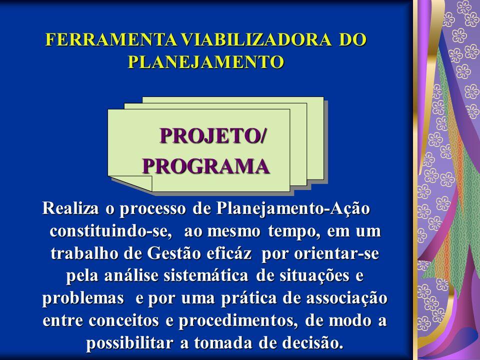 PROJETO/ PROGRAMA Realiza o processo de Planejamento-Ação constituindo-se, ao mesmo tempo, em um trabalho de Gestão eficáz por orientar-se pela anális