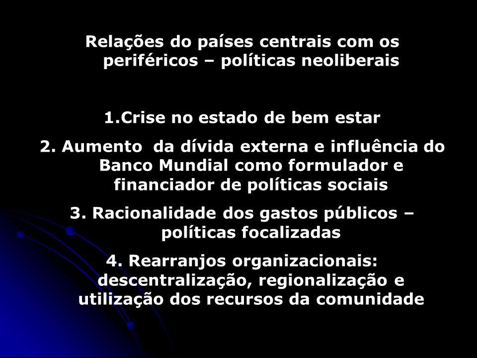 Relações do países centrais com os periféricos – políticas neoliberais 1.Crise no estado de bem estar 2. Aumento da dívida externa e influência do Ban