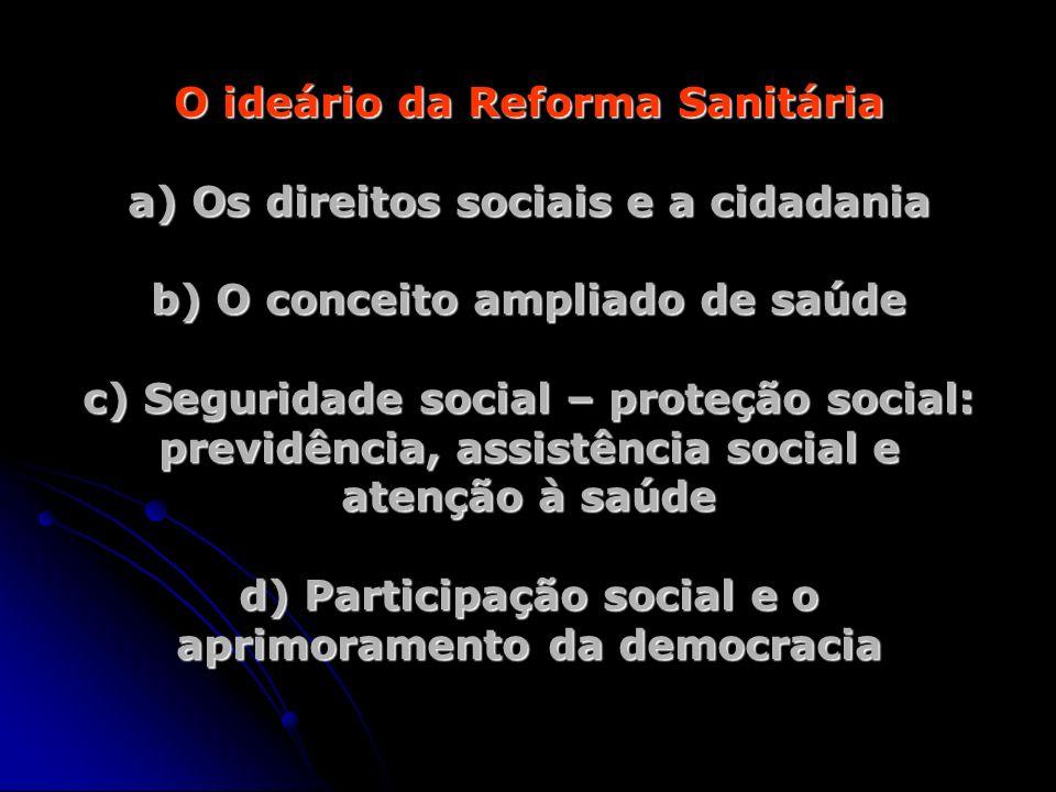 O ideário da Reforma Sanitária a) Os direitos sociais e a cidadania b) O conceito ampliado de saúde c) Seguridade social – proteção social: previdênci