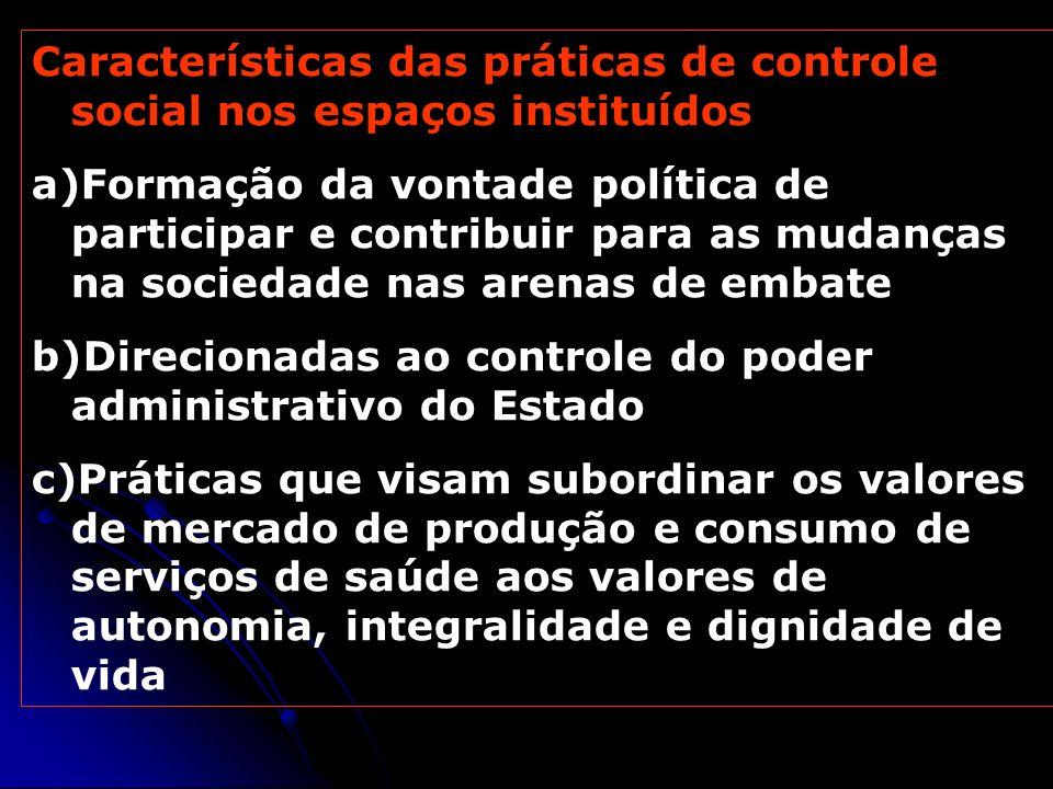Características das práticas de controle social nos espaços instituídos a)Formação da vontade política de participar e contribuir para as mudanças na