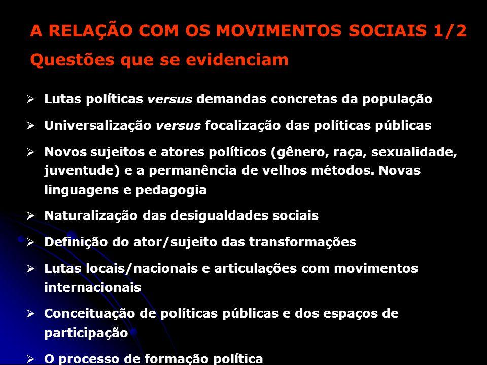 A RELAÇÃO COM OS MOVIMENTOS SOCIAIS 1/2 Questões que se evidenciam Lutas políticas versus demandas concretas da população Universalização versus focal