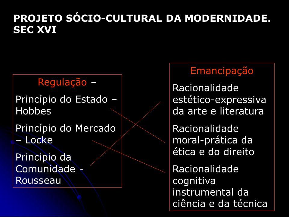 PROJETO SÓCIO-CULTURAL DA MODERNIDADE. SEC XVI Regulação – Princípio do Estado – Hobbes Princípio do Mercado – Locke Principio da Comunidade - Roussea