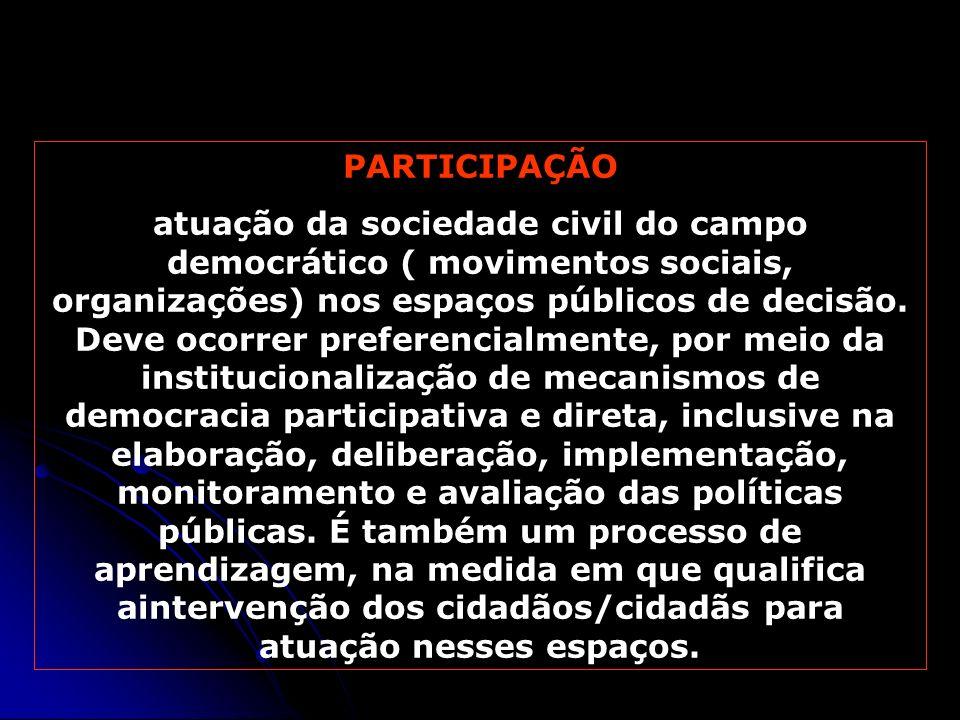 PARTICIPAÇÃO atuação da sociedade civil do campo democrático ( movimentos sociais, organizações) nos espaços públicos de decisão. Deve ocorrer prefere