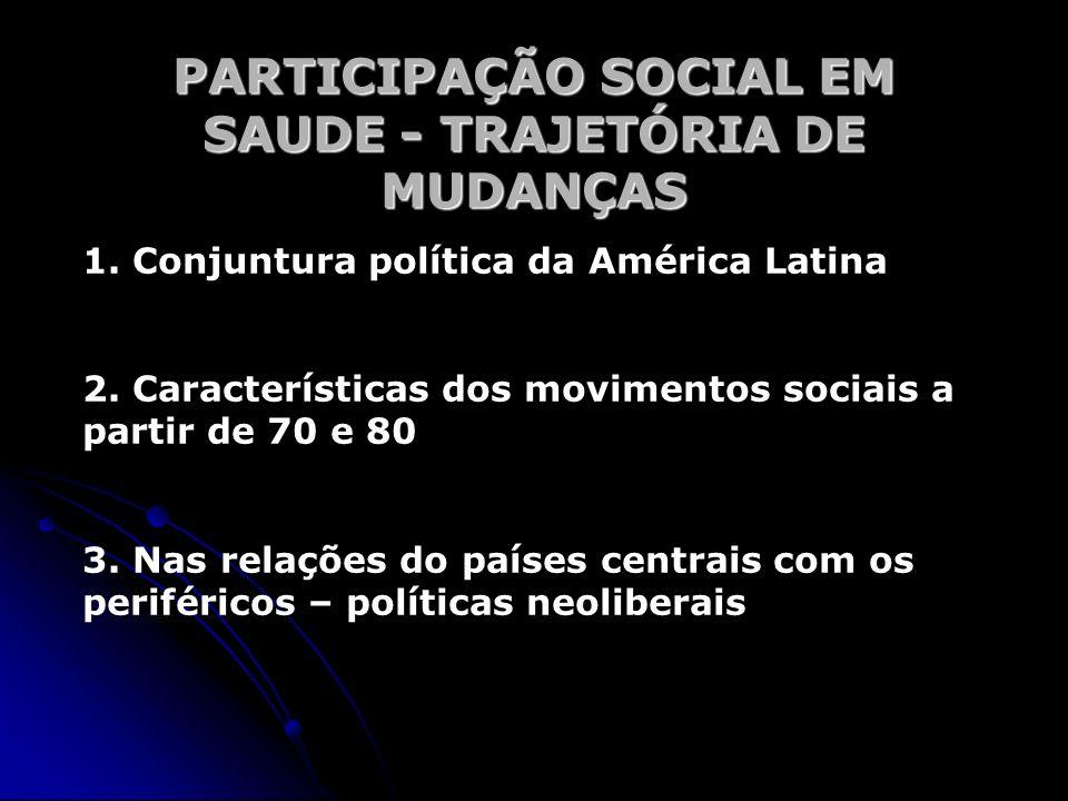 PARTICIPAÇÃO SOCIAL EM SAUDE - TRAJETÓRIA DE MUDANÇAS 1. Conjuntura política da América Latina 2. Características dos movimentos sociais a partir de 7
