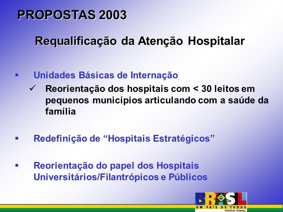 Unidades Básicas de Internação Reorientação dos hospitais com < 30 leitos em pequenos municípios articulando com a saúde da família Redefinição de Hos