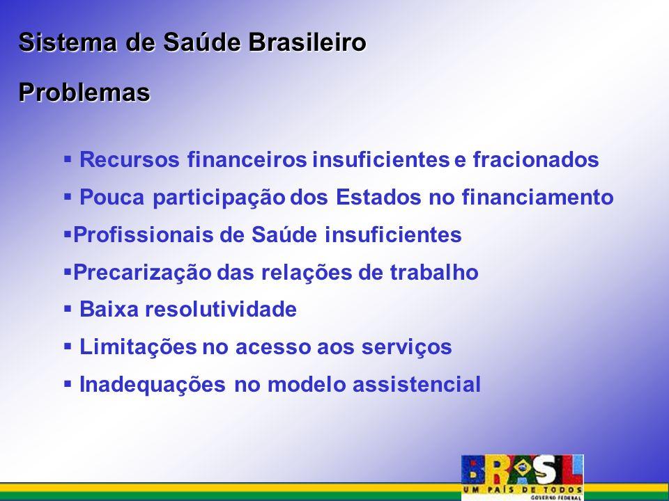 Recursos financeiros insuficientes e fracionados Pouca participação dos Estados no financiamento Profissionais de Saúde insuficientes Precarização das