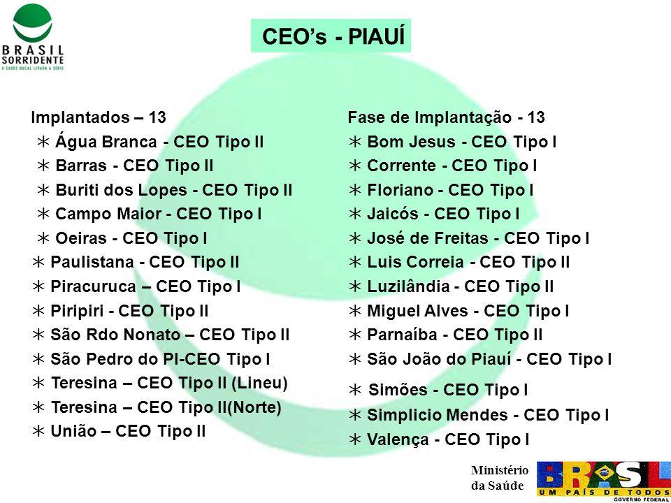 Ministério da Saúde CEOs - PIAUÍ Implantados – 13 Água Branca - CEO Tipo II Barras - CEO Tipo II Buriti dos Lopes - CEO Tipo II Campo Maior - CEO Tipo