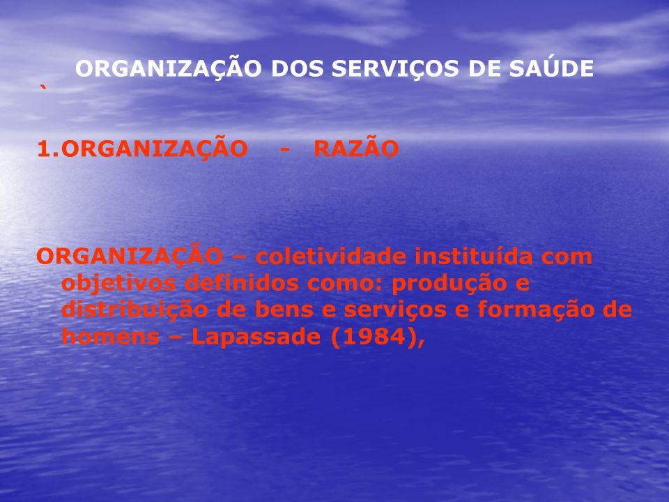 ORGANIZAÇÃO DOS SERVIÇOS DE SAÚDE ` 1.ORGANIZAÇÃO - RAZÃO ORGANIZAÇÃO – coletividade instituída com objetivos definidos como: produção e distribuição