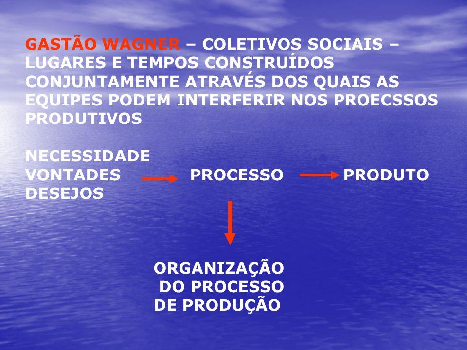 GASTÃO WAGNER – COLETIVOS SOCIAIS – LUGARES E TEMPOS CONSTRUÍDOS CONJUNTAMENTE ATRAVÉS DOS QUAIS AS EQUIPES PODEM INTERFERIR NOS PROECSSOS PRODUTIVOS