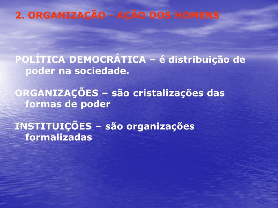2. ORGANIZAÇÃO - AÇÃO DOS HOMENS POLÍTICA DEMOCRÁTICA – é distribuição de poder na sociedade. ORGANIZAÇÕES – são cristalizações das formas de poder IN