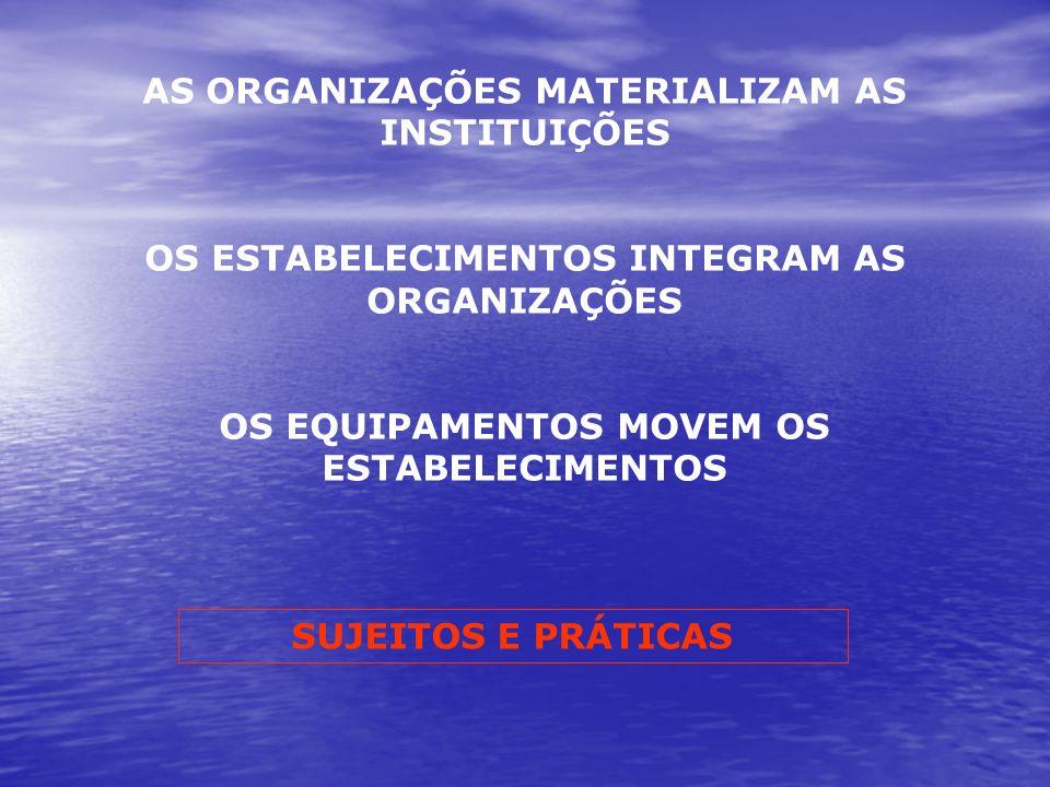 AS ORGANIZAÇÕES MATERIALIZAM AS INSTITUIÇÕES OS ESTABELECIMENTOS INTEGRAM AS ORGANIZAÇÕES OS EQUIPAMENTOS MOVEM OS ESTABELECIMENTOS SUJEITOS E PRÁTICA