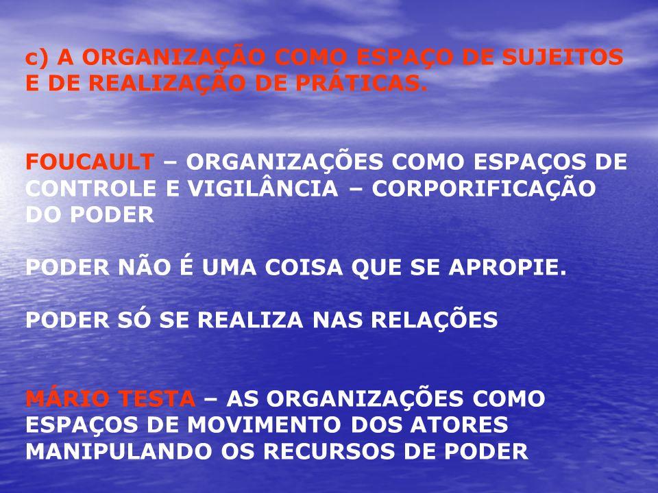 c) A ORGANIZAÇÃO COMO ESPAÇO DE SUJEITOS E DE REALIZAÇÃO DE PRÁTICAS. FOUCAULT – ORGANIZAÇÕES COMO ESPAÇOS DE CONTROLE E VIGILÂNCIA – CORPORIFICAÇÃO D