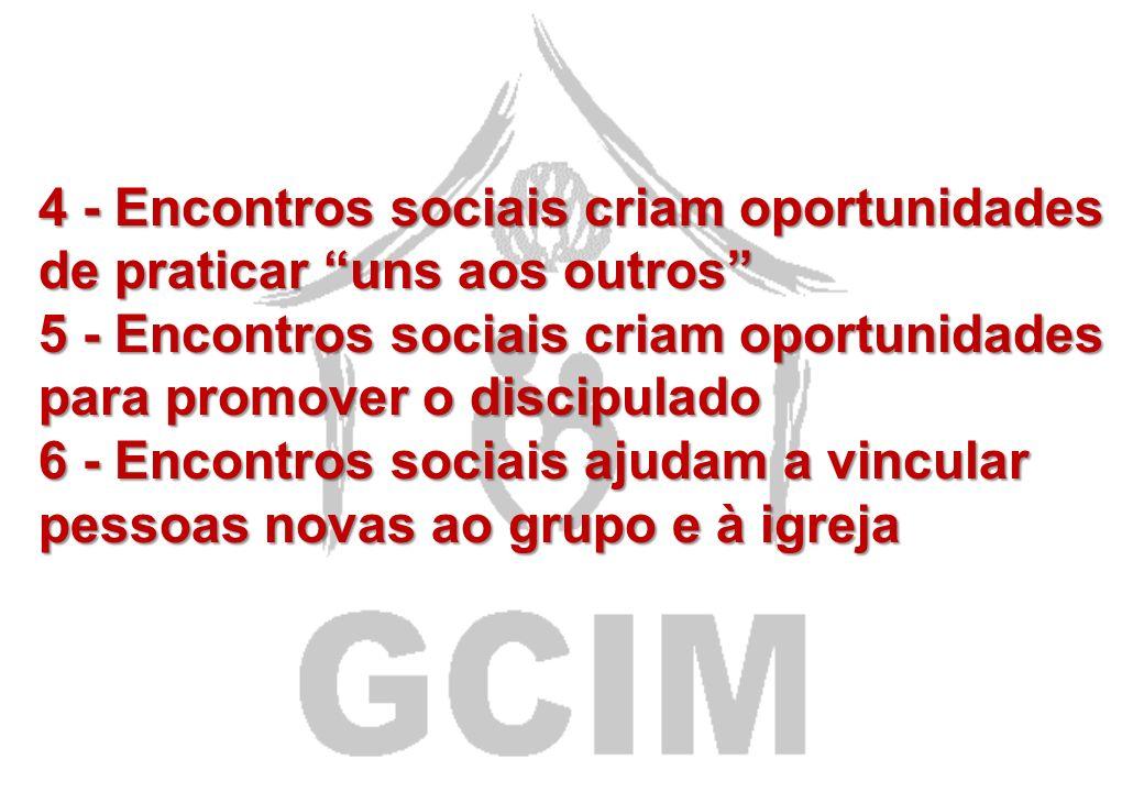 O PODER DOS ENCONTROS SOCIAIS PARA COMUNHÃO 1- Os encontros sociais aumentam a disposição, o interesse e o envolvimento do grupo 2 - Os encontros soci