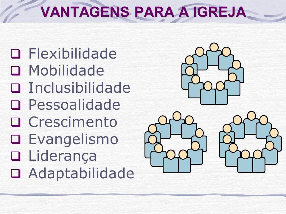 VANTAGENS PARA A IGREJA Flexibilidade Mobilidade Inclusibilidade Pessoalidade Crescimento Evangelismo Liderança Adaptabilidade