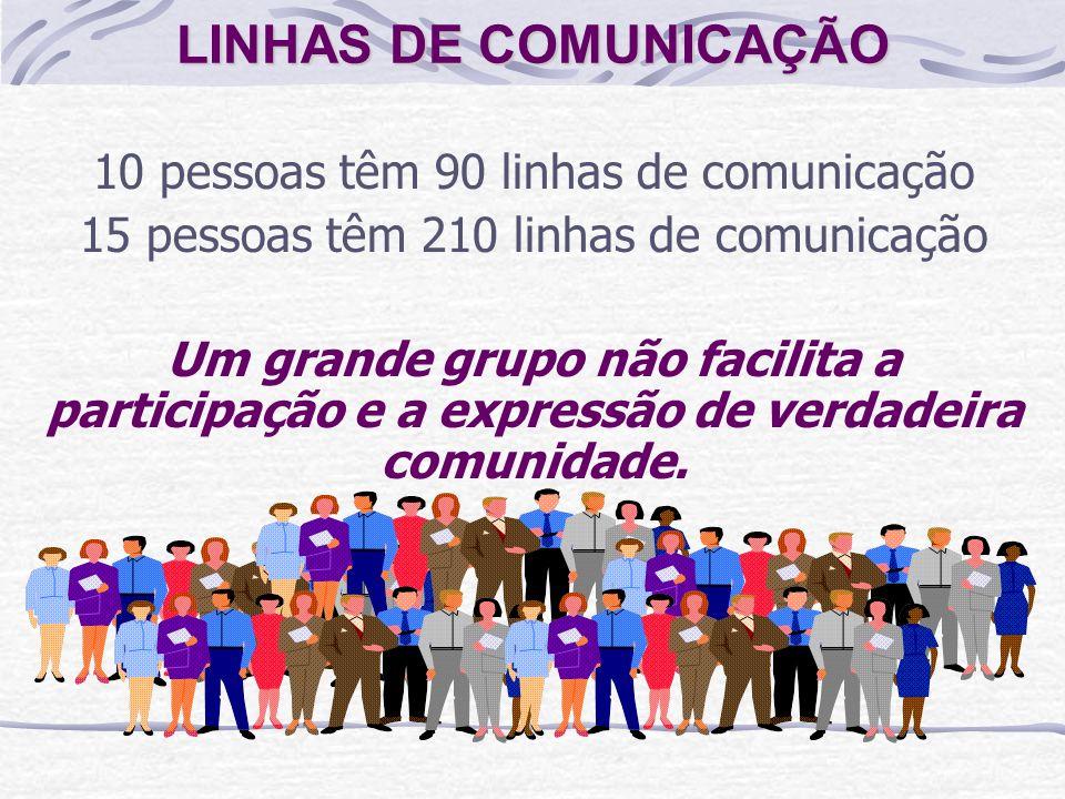 LINHAS DE COMUNICAÇÃO (N x N) - N = LC N = número de pessoas LC = Linhas de comunicação 2 pessoas 2 linhas de comunicação 4 pessoas linhas de comunica