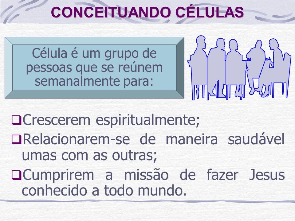CONCEITUANDO CÉLULAS Crescerem espiritualmente; Relacionarem-se de maneira saudável umas com as outras; Cumprirem a missão de fazer Jesus conhecido a todo mundo.
