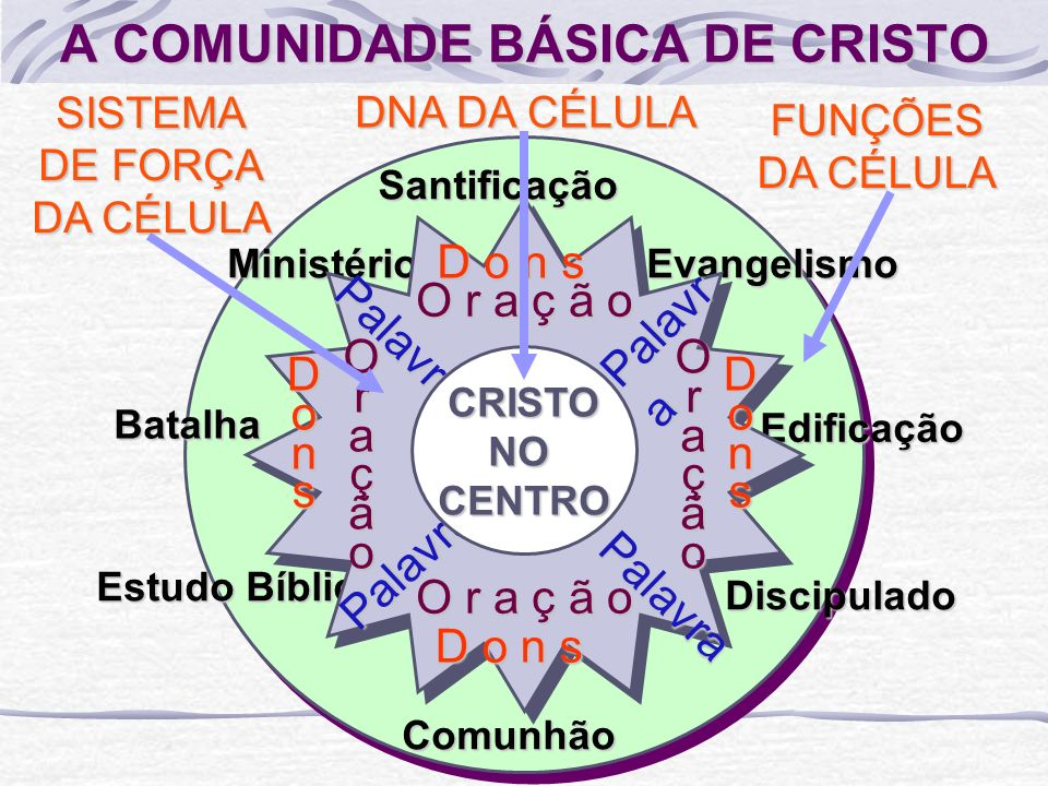 Batalha Ministério Edificação Discipulado Estudo Bíblico Comunhão Evangelismo Santificação A COMUNIDADE BÁSICA DE CRISTO DNA DA CÉLULA FUNÇÕES DA CÉLULA SISTEMA DE FORÇA DA CÉLULA O r a ç ã o OraçãoOração D o n s DonsDons Palavra Palavr a Palavra Palavra O r a ç ã o D o n s CRISTONOCENTRO