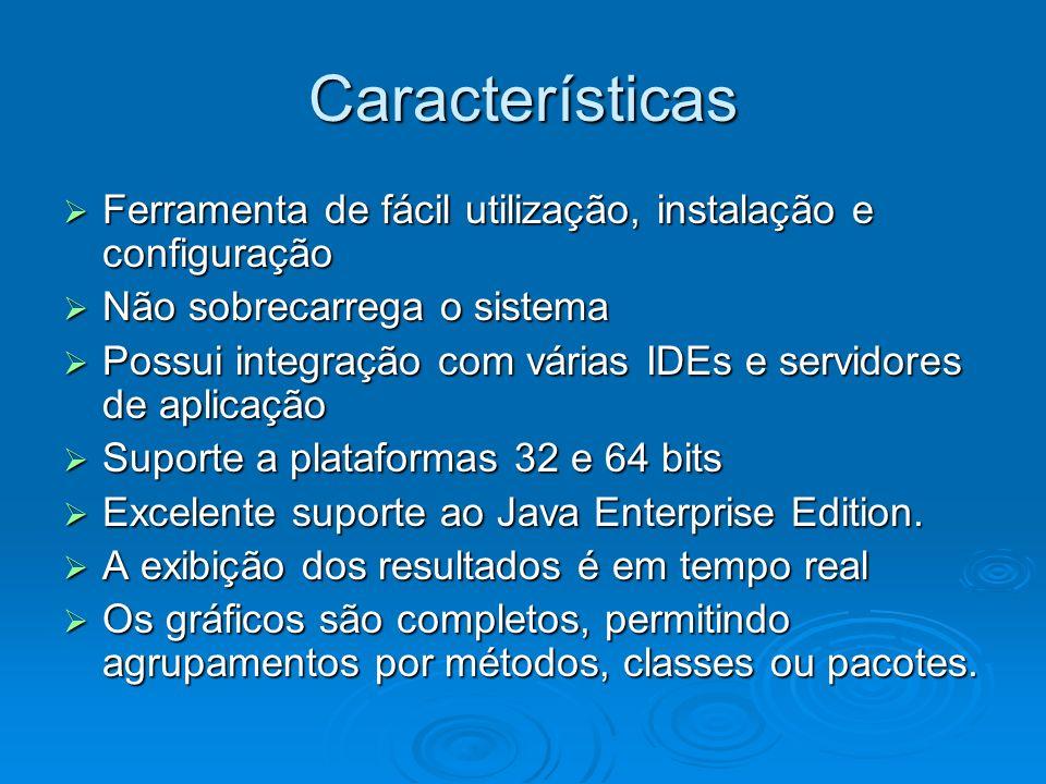 Características Ferramenta de fácil utilização, instalação e configuração Ferramenta de fácil utilização, instalação e configuração Não sobrecarrega o sistema Não sobrecarrega o sistema Possui integração com várias IDEs e servidores de aplicação Possui integração com várias IDEs e servidores de aplicação Suporte a plataformas 32 e 64 bits Suporte a plataformas 32 e 64 bits Excelente suporte ao Java Enterprise Edition.