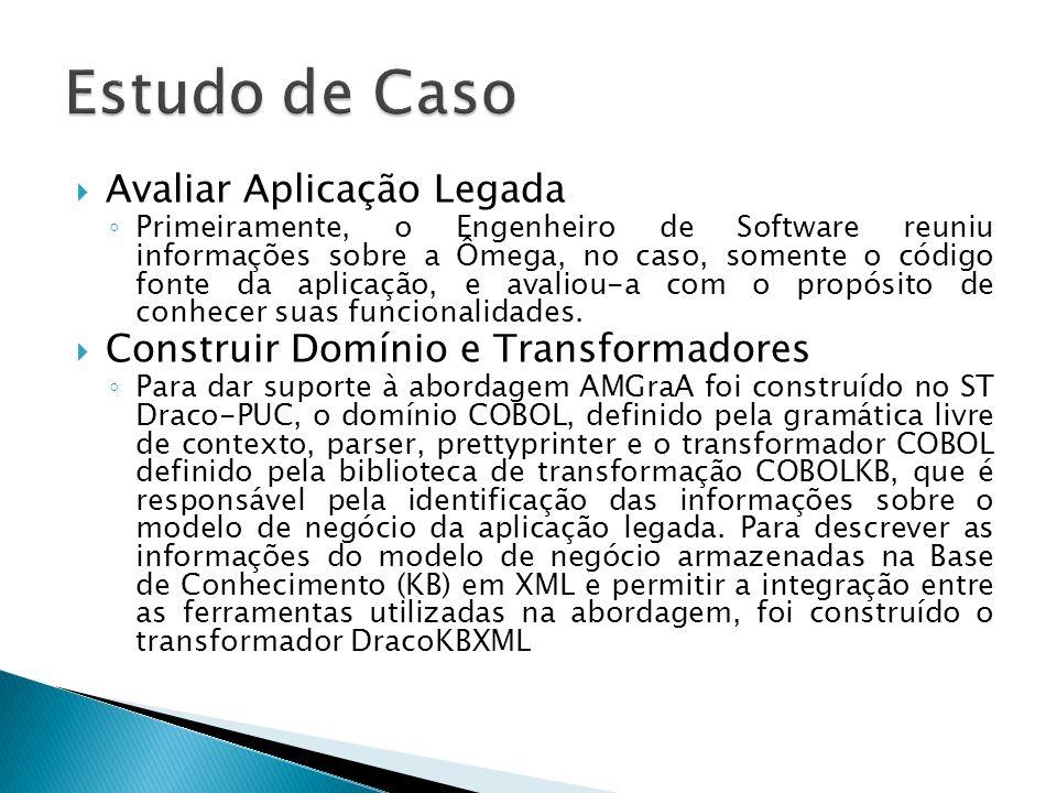 Avaliar Aplicação Legada Primeiramente, o Engenheiro de Software reuniu informações sobre a Ômega, no caso, somente o código fonte da aplicação, e ava