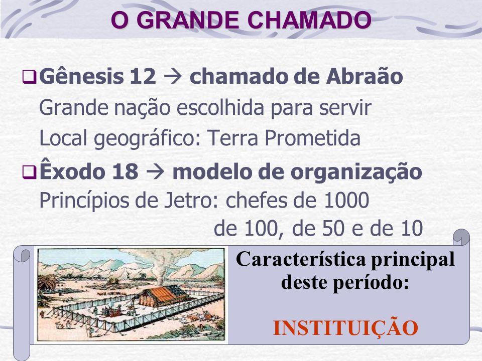 O GRANDE CHAMADO Gênesis 12 chamado de Abraão Grande nação escolhida para servir Local geográfico: Terra Prometida Êxodo 18 modelo de organização Prin
