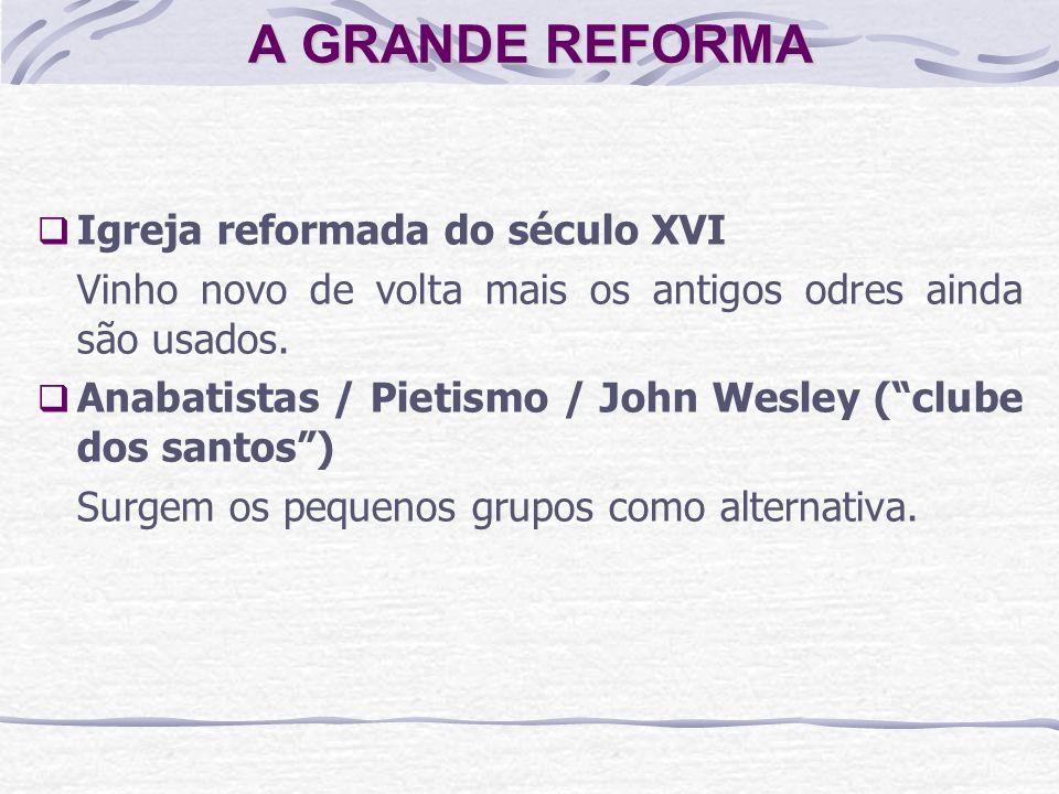 A GRANDE REFORMA Igreja reformada do século XVI Vinho novo de volta mais os antigos odres ainda são usados. Anabatistas / Pietismo / John Wesley (club