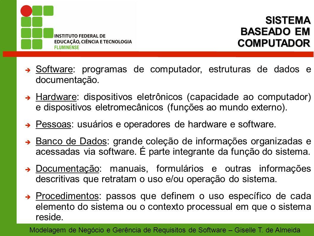 Modelagem de Negócio e Gerência de Requisitos de Software – Giselle T. de Almeida Software: programas de computador, estruturas de dados e documentaçã